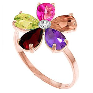 QP Jewellers Natural Gemstone Ring in 9ct Rose Gold, 2.20ct Pear Cut - 3423R