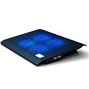 青いLEDがクール。冷え冷えひんやり ノートパソコン冷却台