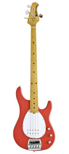 Ernie Ball Music Man Classic Collection Sterling 4 String Bass - Single Humbucker Coral Red Finished Birdseye Maple Neck White Pickguard
