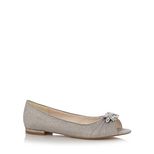 No. 1 <strong>Jenny Packham Womens Designer Silver Diamante Leaf Pumps