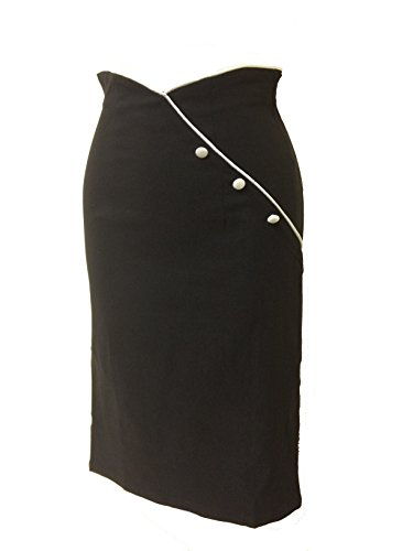 Womens Vintage Black Pencil Skirt With White Trim And Buttons (X-Small)