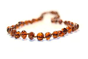 The Art of CureTM *SAFETY KNOTTED* Cinnamon - (Unisex) - Certified Baltic Amber Baby Teething Necklace Highest Quality Guaranteed- Anti Inflammatory, Drooling & Teething Pain. Easy to Fastens with a Twist-in Screw Clasp Mothers Approved Remedies!