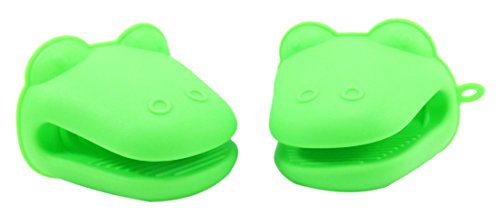 Alligator Silicone Pot Holder Mitt 4 x 3 1/4 Neon Green (Set of 2) (Cow Pot Holders And Oven Mitts compare prices)