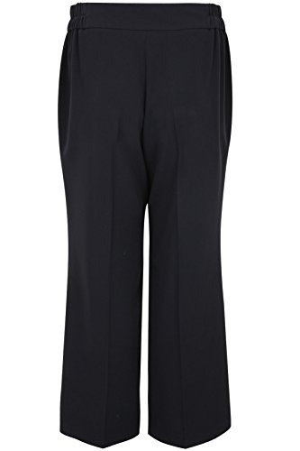 "Yoursclothing Plus Size Womens Wide Leg Trousers With Stab Stitch Detail Size 28"" / 24-26 Black"