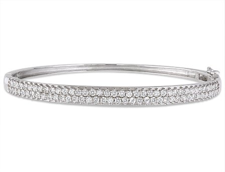 Sterling Silver 3 3/8 CT TGW Cubic Zirconia Bangle Bracelet