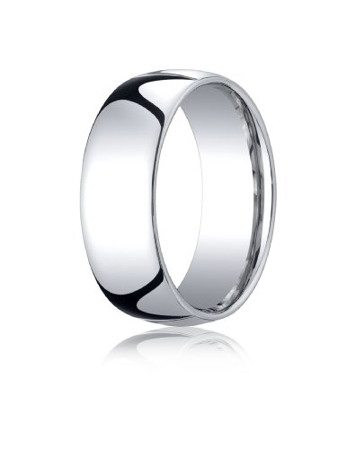 10K White Gold, 8mm Slightly Domed Standard Comfort-Fit Ring (sz 9.5)