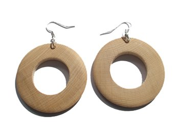 Wooden Jewellery - Plain wooden earrings - 4.8cm - Decoupage Craft Decopatch