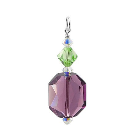 BDPS151 Made with Swarovski Elements Bicone Shaped Multifaceted 15mm x 17mm Amethyst & 8mm x 9mm Peridot Crystal.925 Sterling Silver 1.5