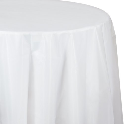 Creative Converting Octy-Round Plastic Table Cover, 82-Inch, Clear
