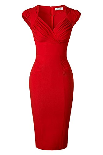 Newdow Lady's 50s Vintage V-neck Capsleeve Pencil Dress (Large, Red)