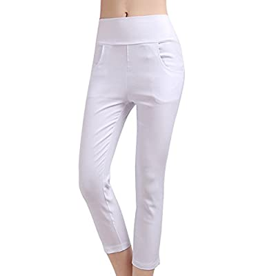 TLZC Women's Skinny Solid Color Pockets Stretch Capris Leggings