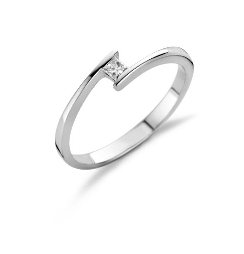 Miore 18ct White Gold Solitaire Ring with Princess cut Diamond