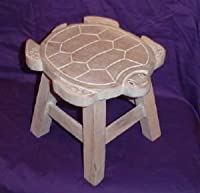 Turtle Hand Carved Wooden Foot Stool from ITGAM Products