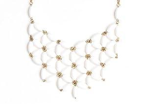 Beaded Bib Necklace Gold Tone White NL40 Chandelier Tiered Geometric Statement Collar Fashion Jewelry