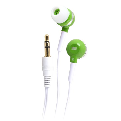 August Ep510 Universal Stereo Headphones - In-Ear Sound Isolating Earphones With Different Size Rubber Ear Pieces S / M / L - Suitable For Children (Green)