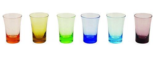 Villa d'Este One Shot Set 6 Bicchierini da Liquore in Vetro, Multicolore, Set di 6 Pezzi