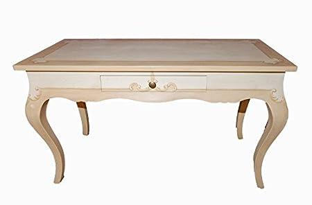 Tavolo scrittoio di grande raffinatezza, LORDdesign Made in Italy, consolle porta tv, mobile in legno colore avorio e contorni cipria. Decorato a mano con filetti e decori; rifinito su 4 lati. L112x57xh80