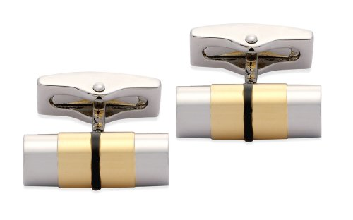 Code Red Base Metal Rhodium Plated Cufflinks With Black And Gold Colour