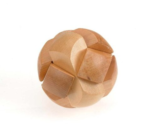 Classic 3D Soccer Ball Hand-Crafted Wooden Puzzle, Brain Teaser, Gift Boxed by Sunline