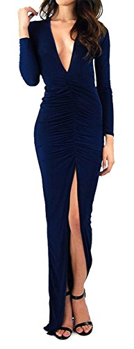 Made2Envy Deep V Neck Maxi Dress With Long Sleeves And High Front Slit (M, Black)