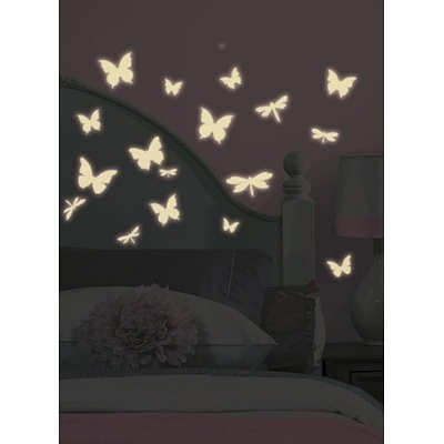 (10x18) Butterfly & Dragonfly Glow in the Dark Wall Decals