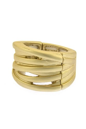 The Jewel Rack Striped Ring (Matted Gold)