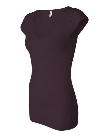 Bella Ladies Sheer Rib Cap Sleeve Deep V-Neck T-Shirt. 8705 - Medium - Deep Plum (Cap Sleeve T Shirts compare prices)
