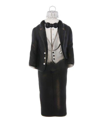 Groom's Black Tuxedo Wedding Day Glass Holiday Christmas Ornament