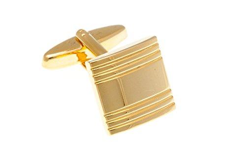 Gemelli quadrati placcati in oro semplicemente in metallo tinta unita a righe