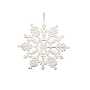 12pcs Plastic Glitter Snowflake,10cm,White,12 Per Package