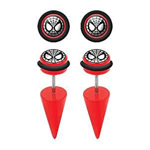 Spiderman Red Acrylic Fake Tapers - 18G (1mm) Ear Wire - Sold in a Pair