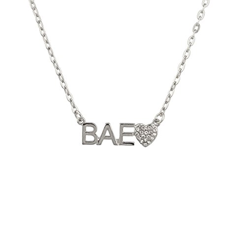 Lux Accessories Bae Boo Girlfriend Pave Heart Pendant Necklace.