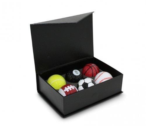 CEBEGO Sixpack Golfbälle in Sportdesign,sechs Sportgolfbälle mit Schlüsselanhänger