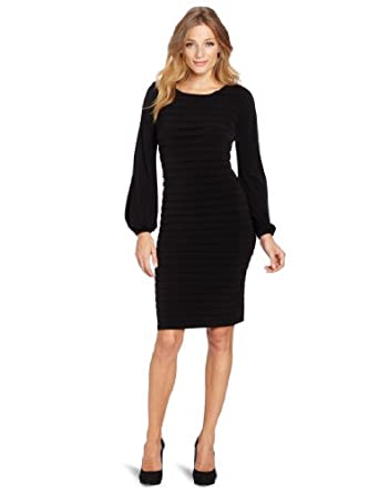 London Times Women's Matte Jersey Shutter Tuck Sheath Dress, Black, 12