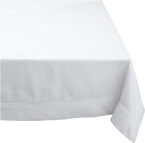 Mahogany Solid-Color 100-Percent Cotton Hemstitch Tablecloth, 60-Inch by 90-Inch Rectangle, White