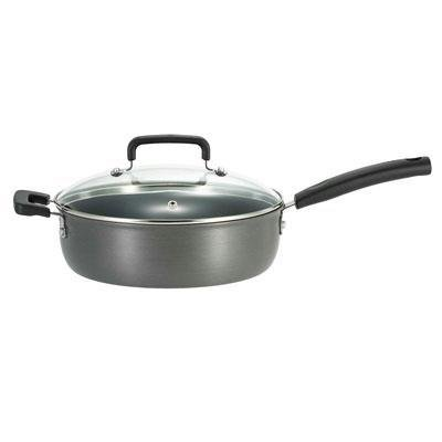 T-fal D9133364 Signature Hard Anodized Nonstick 10-Inch Skillet with Glass Lid Cookware, Gray