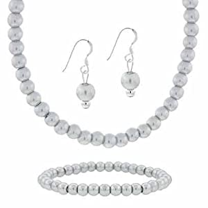 """Sterling Silver 6mm Simulated Gray Pearl Stone Bead Beaded Dangle Hook Earrings Stretch Bracelet Necklace 15-19"""" Jewelry Set"""