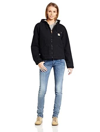 Carhartt Women's Sandstone Duck Sierra Jacket/Sherpa-Lined,Black,X-Small