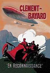 30 x 20 Canvas. Clement-Bayard - French Dirigible Speeds against a Car both trailaing a train ]