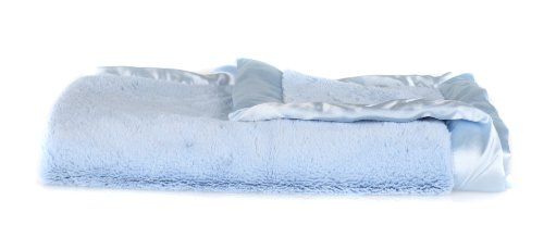 "Saranoni Baby Receiving Blanket, Lush with Satin Trim, 30"" x 40"" (Blue) - 1"
