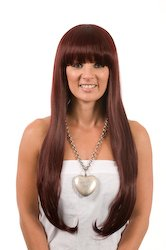 Long Straight Deep Red Angelina Jolie Wig | Soft Fringe | Heat Styleable | Long Wigs
