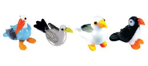 Looking Glass Miniature Collectible - Pelican / Seagull / Puffin (4-Pack)