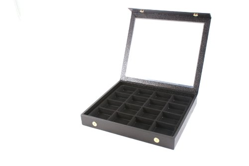 Display Case Snap Close Acrylic Lid + Black 16 Compartment Insert