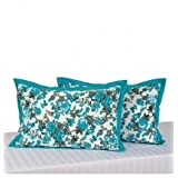 Swayam Drape And Dream Cotton 2 Piece Pillow Cover Set - Turquoise (PC02-2711)
