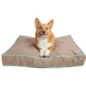 Tan with Aqua Piping Dog Bed Cover