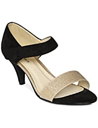Paprika By Lifestyle Women Black & Gold-Toned Colourblocked Heels