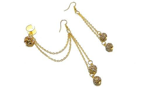 Gold Crystal Balls Chain Ear Cuff Handmade