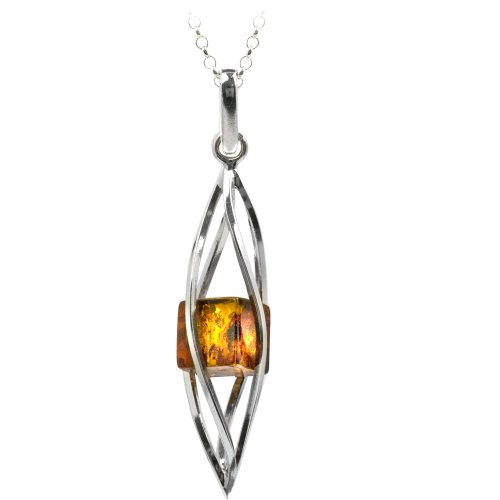 Sterling Silver Millennium Collection Honey Amber Twisted Pendant Necklace , 18
