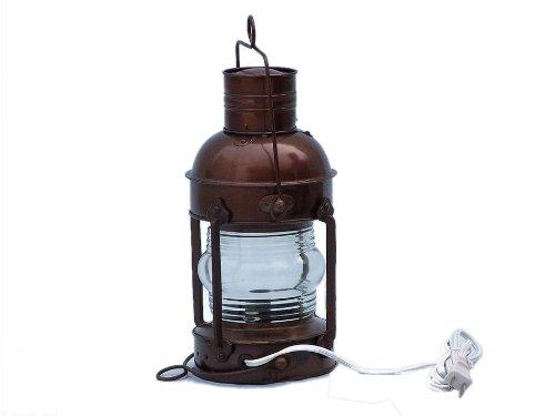 """Antique Copper Anchor Electric Lantern 10"""" - Decorative Vintage Electric Lantern"""