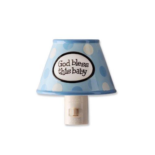 """God Bless This Baby"" Blue Polkadot Night Light - 1"